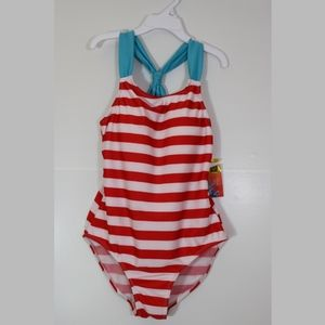 NWT. Red, white, and blue one-piece swimsuit. 12.